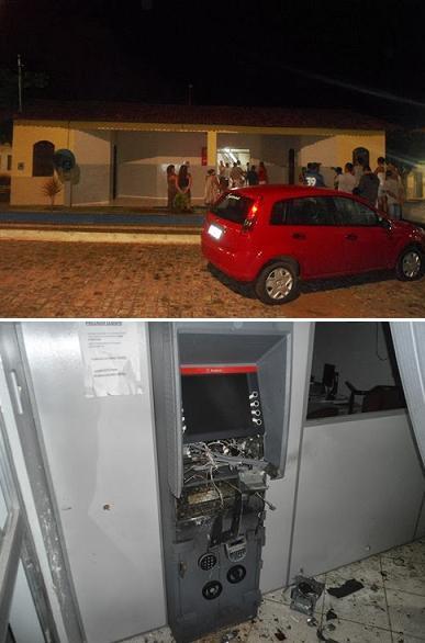 Posto de atendimento bancário teve caixa eletrônico destruído (foto blog Bom Jesus Eventos)