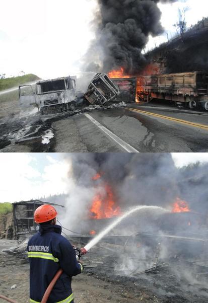 Veículos pegaram fogo no meio da pista
