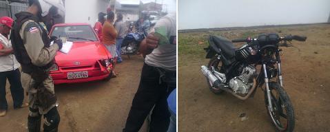 Após bater no trator carro foi ao encontro da moto (foto Repórter Dhan Silva)