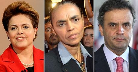 A pesquisa mostra Dilma entre 31% e 32%, Marina entre 27% e 28% e Aécio Neves entre 18% e 20%