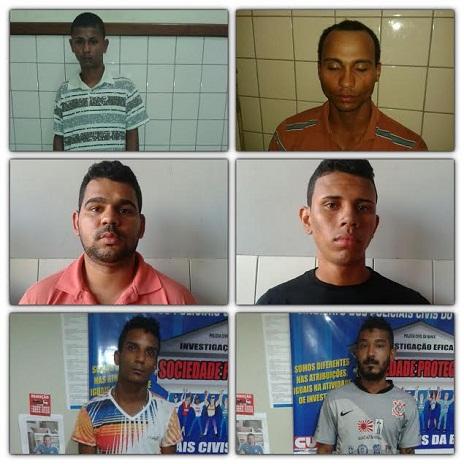 19º BPM divulgou fotografias dos seis suspeitos detidos
