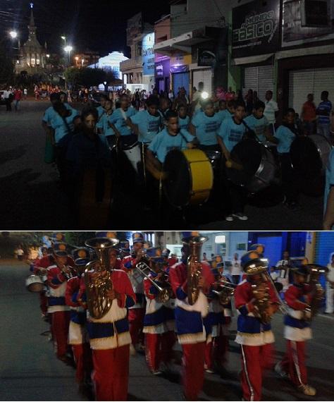 Banda Mirim do Adelaide Rodrigues (Mandacaru) e Fanfarra do Faraildes Santos (Curral Novo) foram as duas primeiras a se apresentarem