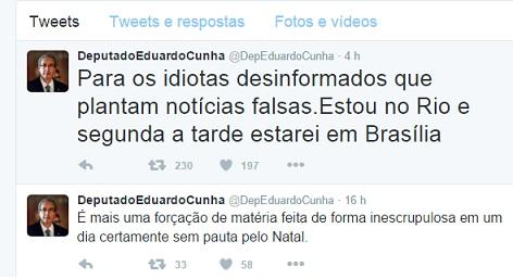 Através do Twitter, Eduardo Cunha negou que estivesse indo para Cuba.
