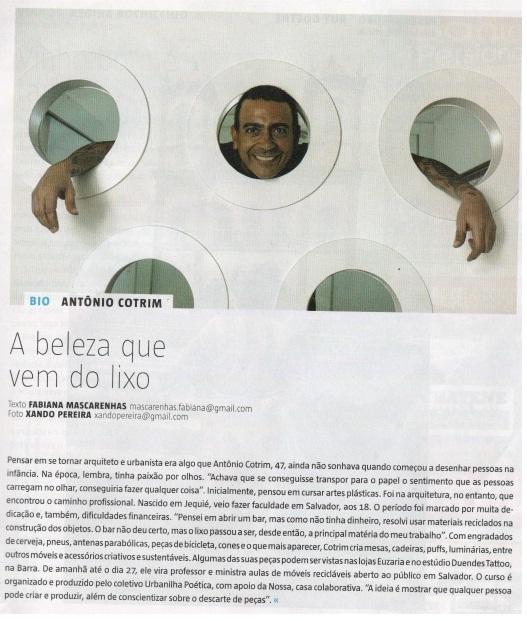 Trabalho de Antonio Cotrim é destaque em página da revista Muito, que circula no jornal A Tarde