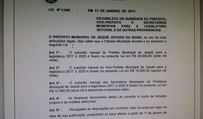 Reajuste dos subsídios do Prefeito, vice e secretários foi sancionado