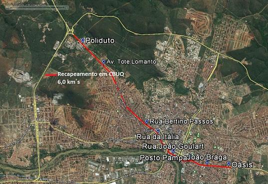 Linha destacada em vermelho será o trecho recapeado pelo DNIT